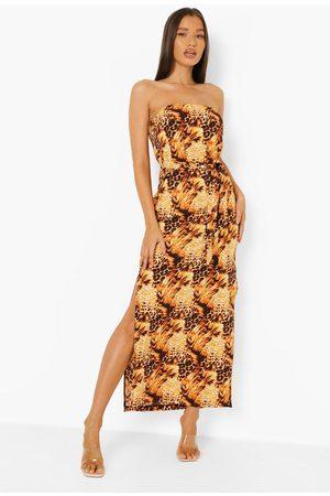 Boohoo Leopard Print Bandeau Belted Maxi Dress