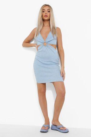 Boohoo O Ring Cut Out Denim Dress