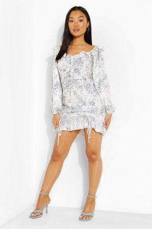 Boohoo Petite Porcelain Print Ruched Ruffle Dress