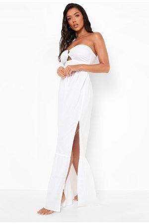 Boohoo Cotton O-ring Detail Beach Maxi Dress