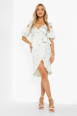 Boohoo Mixed Print Wrap Front Midi Dress