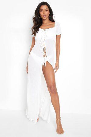 Boohoo Crinkle Tie Detail Maxi Beach Dress