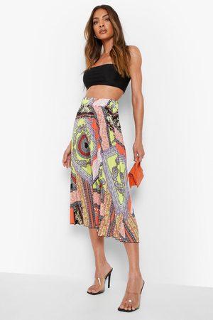 Boohoo Scarf Print Pleated Longer Length Midi Skirt
