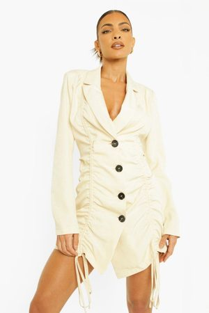 Boohoo Woven Ruched Front Blazer Dress