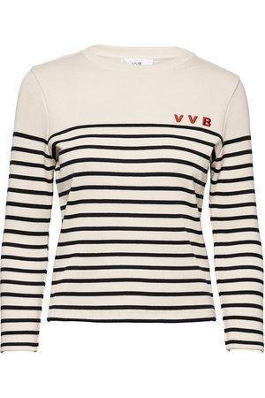 Victoria Victoria Beckham Slim Fit Striped Top T-shirts & Tops Long-sleeved Svart