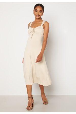 BUBBLEROOM Isa midi dress Light beige L