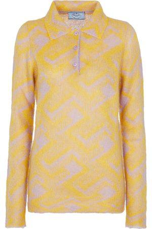 Prada Mohair-blend polo sweater