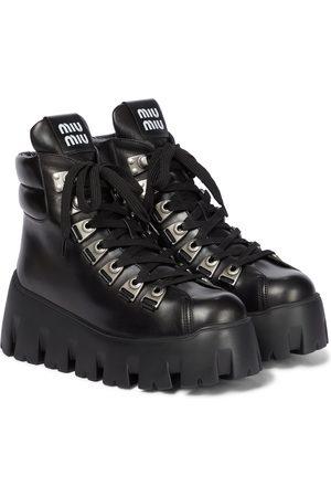 Miu Miu Leather platform ankle boots