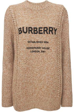 BURBERRY Mabel Logo Wool & Cotton Knit Sweater