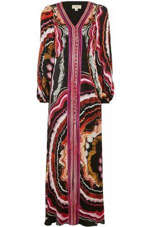 TEMPERLEY LONDON Leonie Print V-neck Dress Deep Raspberry