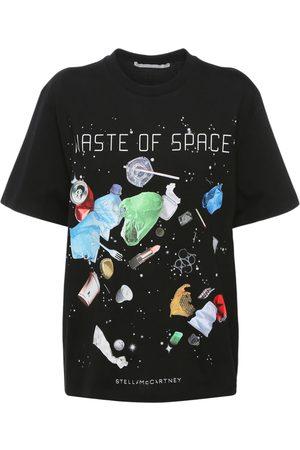 Stella McCartney Dame Kortermede - Space Print Cotton T-shirt