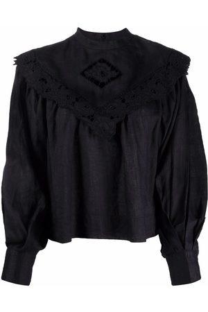 Isabel Marant Dame Bluser - Cut-out ruffle-trim blouse