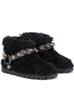 Miu Miu Embellished shearling ankle boots