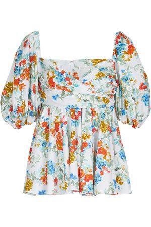 Caroline Constas Brie floral cotton-blend top