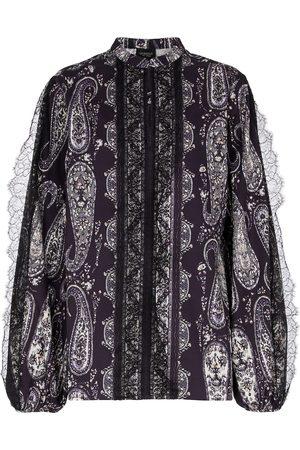 Giambattista Valli Lace-trimmed paisley cotton blouse