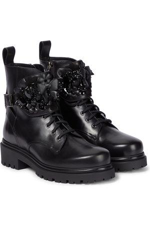 RENÉ CAOVILLA Embellished leather combat boots