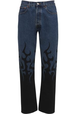 Vetements Herre Straight - Black Fire Straight Leg Denim Jeans
