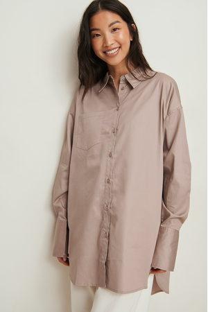 NA-KD Dame Bluser - Resirkulert Oversized Skjorte Med Lomme