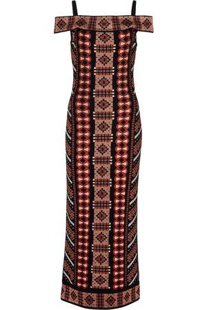 Alaïa Off-shoulder jacquard midi dress