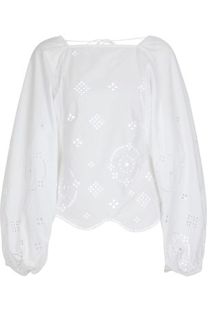 Ganni Broderie anglaise cotton blouse