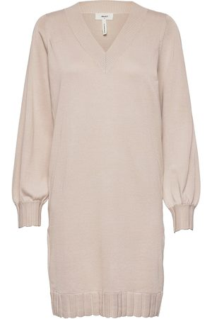 Object Objdilli L/S Knit Dress Ec Pa Knelang Kjole Beige