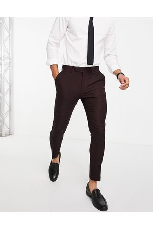 ASOS Wedding super skinny wool mix suit trousers in burgundy twill-Red