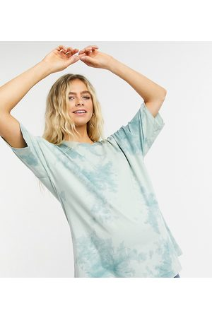 ASOS ASOS DESIGN Maternity co-ord oversized t-shirt in tonal tie dye in washed mint-Green