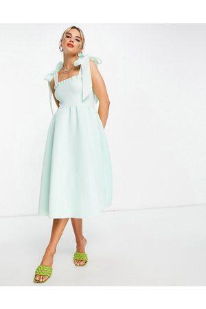 ASOS Shirred bunny tie prom midi dress in sage-Green