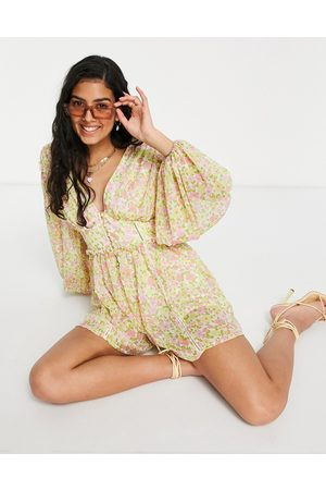 ASOS Button front long sleeve playsuit in 70s floral-Multi