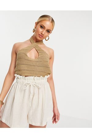 ASOS Co-ord crochet twist front halter neck top in stone-Neutral