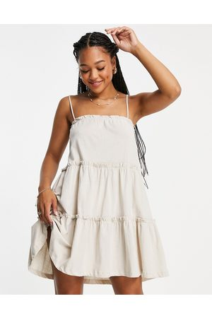 ASOS Strappy sundress with tiered frill detail in stone-White