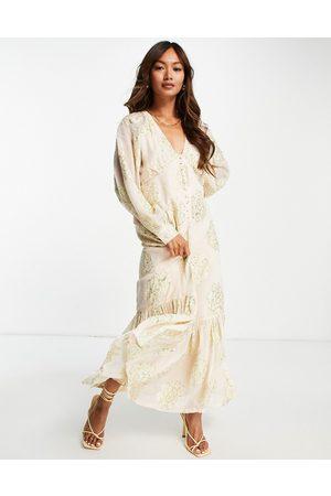 ASOS Button front maxi tea dress in metallic floral print-Multi