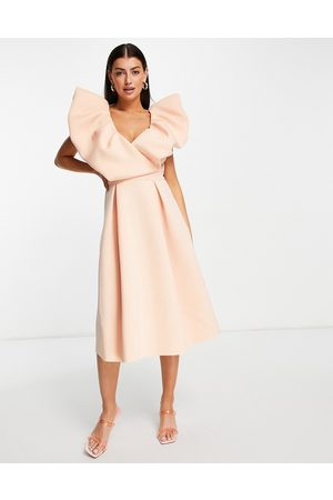 ASOS Exagerated bubble sleeve prom midi dress-Multi