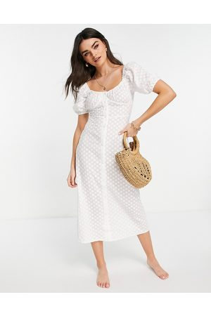 Fashion Union Broderie anglaise beach dress with button detail in white