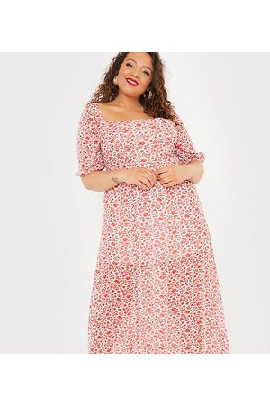 In The Style X Jac Jossa flutter sleeve midi dress with thigh split in red floral print