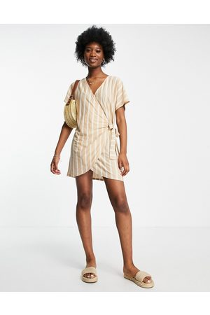 ASOS Wrap dress in taupe and cream stripe-Brown