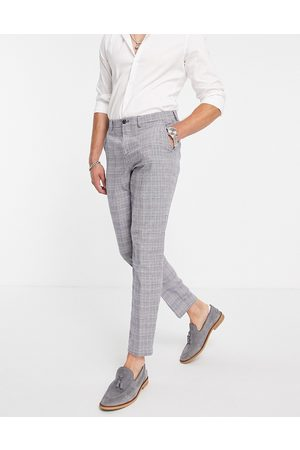 SELECTED Herre Chinos - Slim tapered linen blend suit trousers in blue