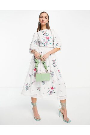 ASOS Dame Midikjoler - High neck dobby embroidered midi dress with lace trims in white