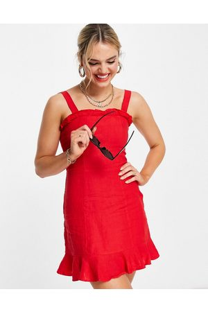 & OTHER STORIES Linen square neck mini dress in red-White