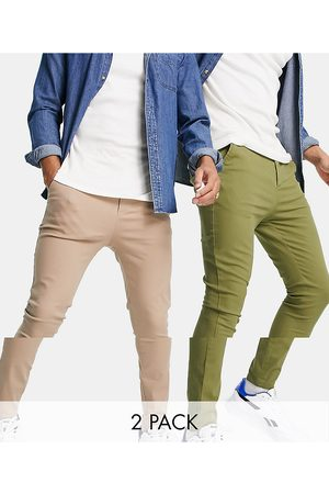ASOS 2 pack extreme super skinny chinos in khaki and beige save-Multi