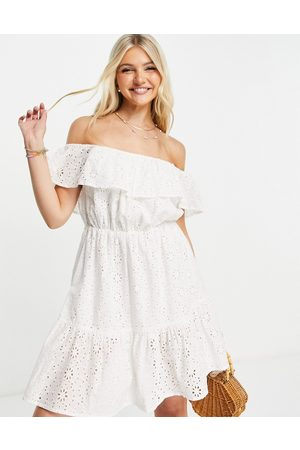 In The Style X Jac Jossa embroidered off shoulder smock dress in white
