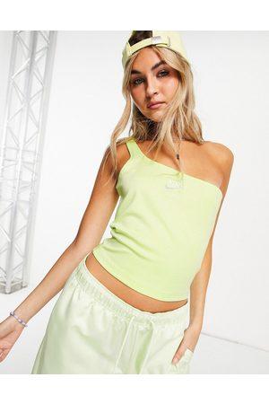 Nike Air asymmetric vest in lime green marl