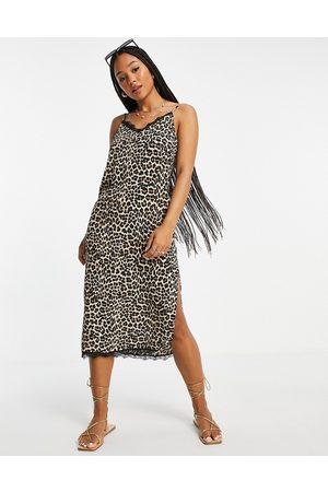 ASOS Dame Bodycon kjoler - Lace trim midi slip dress in animal print-Multi