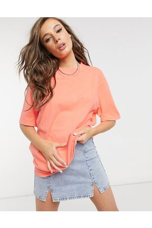 ASOS Oversized boxy t-shirt in neon coral wash-Pink