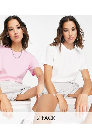 Weekday Alanis organic cotton 2 pack t-shirt in white and pink-Multi