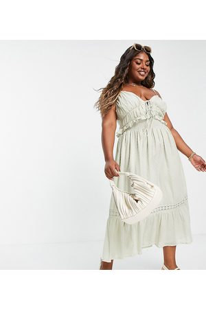ASOS ASOS DESIGN Curve dobby midi sundress with shirred waist and lace in sage green