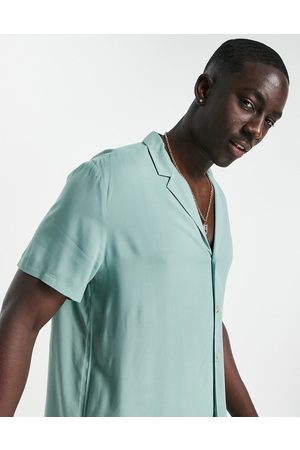 ASOS Relaxed viscose shirt with revere collar in light teal-Green