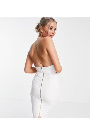Vesper Halter neck midi dress in white