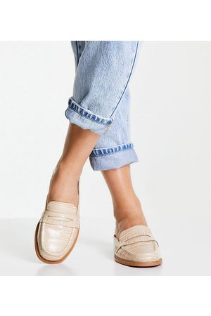 ASOS Dame Loafers - Wide Fit Maximal 90's mule loafers in croc-Neutral