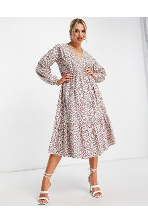 Glamorous Midi wrap dress in ditsy cherry print-Multi
